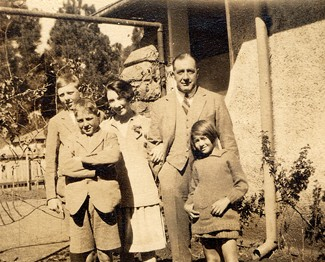 Buster, Harry, Grandmother, Grandpa and Joyce -