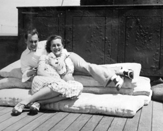 Joyce and friend on deck of Windsor Castle -